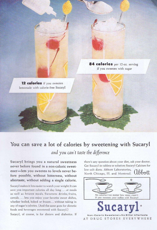 1956 Sucaryl Artificial Sweetener Original Vintage Advertisement by Abbott Laboratories