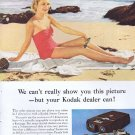 1956 Eastman Kodak Stereo 3-Dimension Original Vintage Advertisement with Pretty Beach Woman