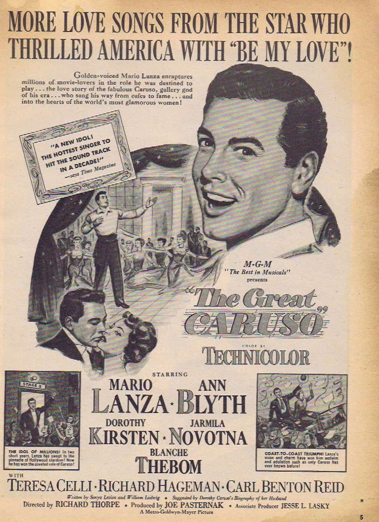The Great Caruso 1951 Original Movie Ad with Mario Lanza and Ann Blyth