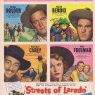 Streets of Laredo 1949 Original Western Movie Ad with William Holden and Mona Freeman