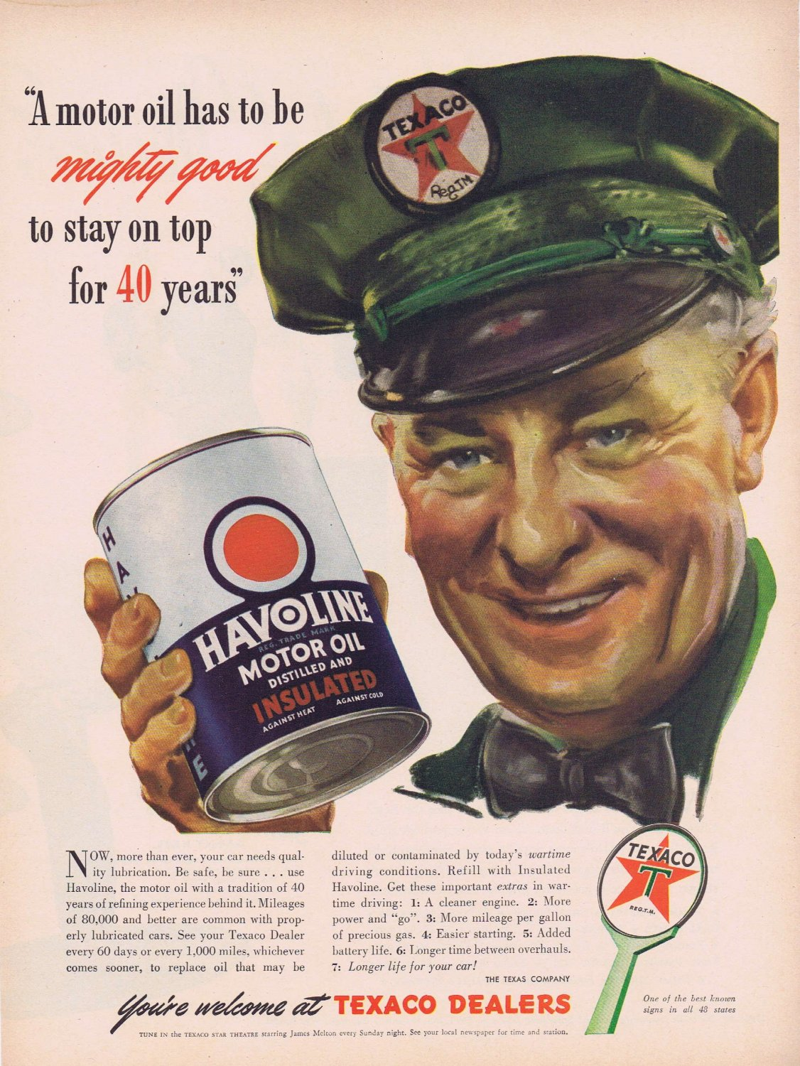 1944 Havoline Motor Oil and Texaco Gasoline Original Vintage Advertisement