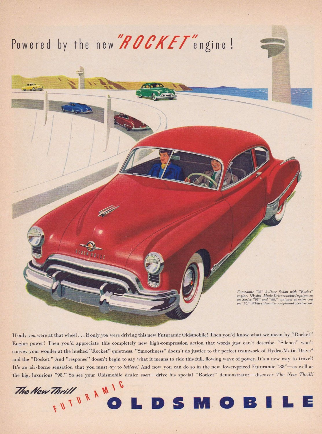 1949 Futuramic Oldsmobile Original Vintage Car Ad with Rocket Engine