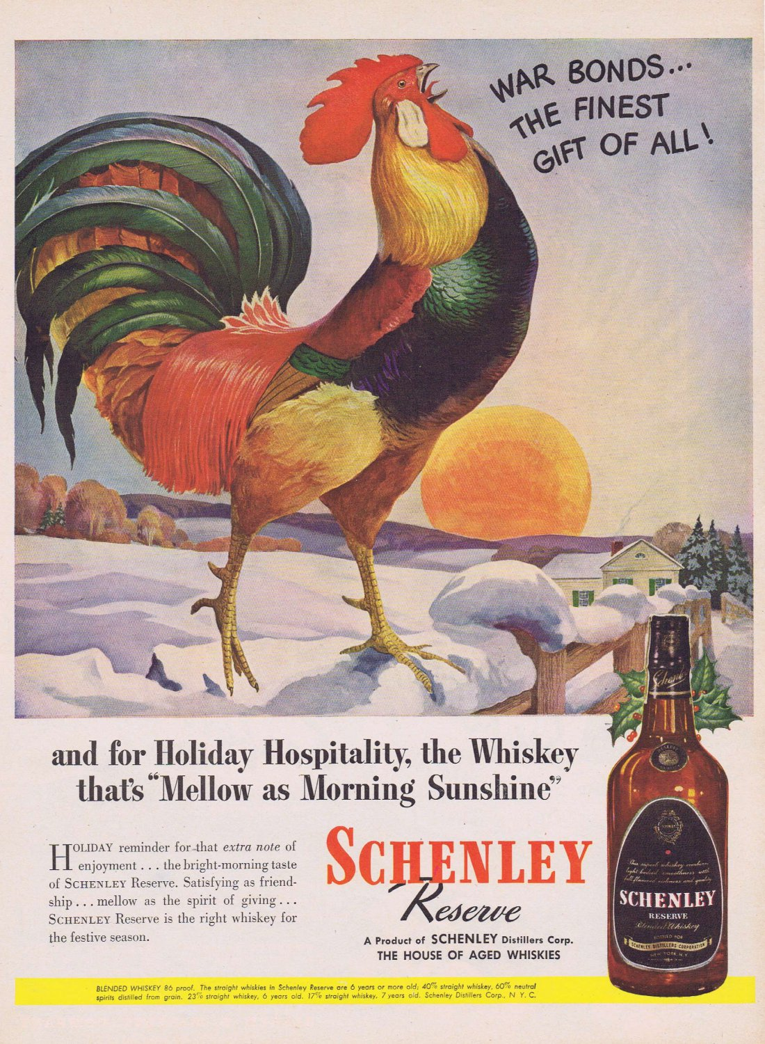 1949 Schenley Reserve Blended Whiskey Original Vintage Ad with Beautiful Crowing Rooster