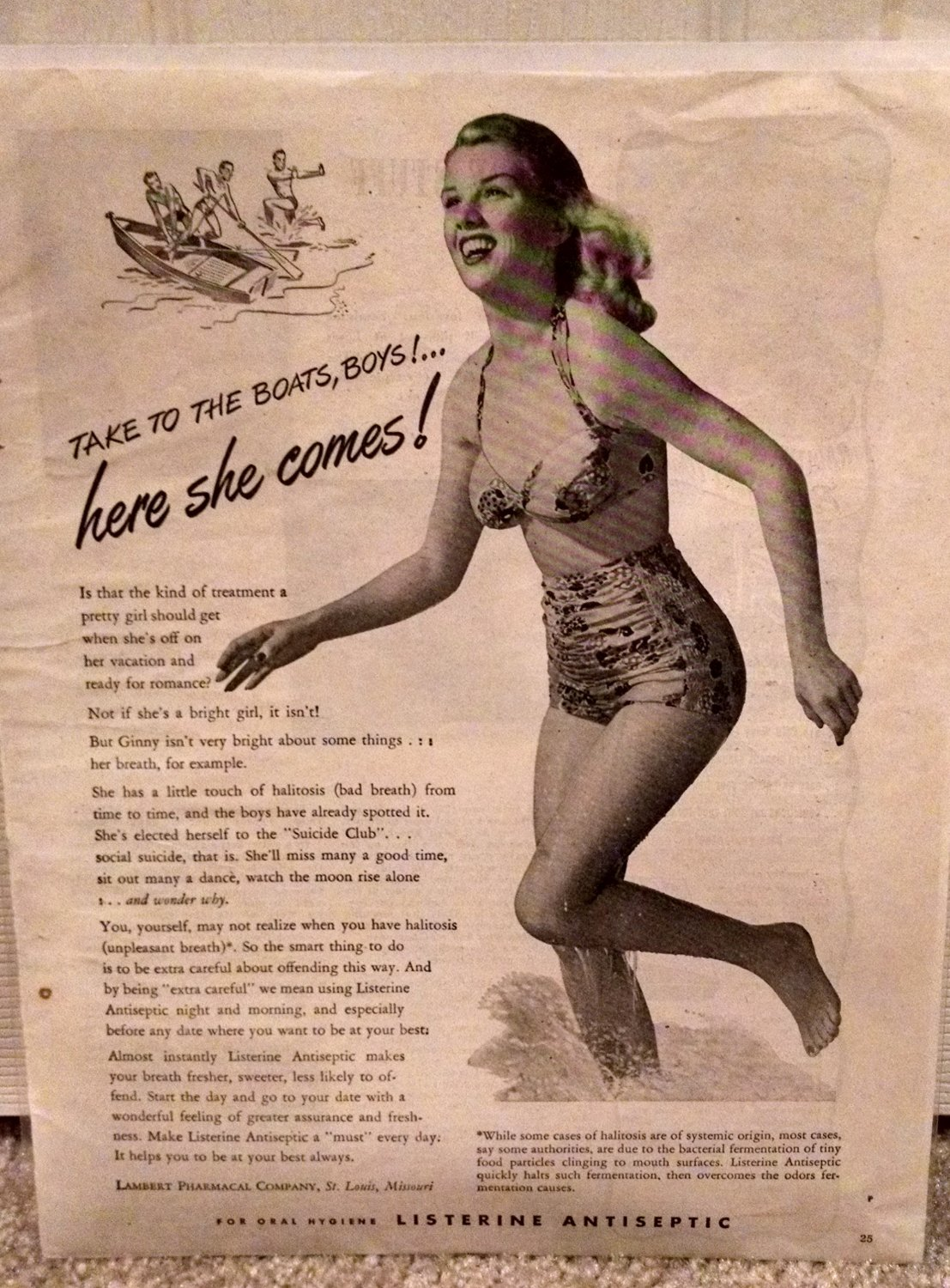 Listerine Antiseptic Original Vintage Advertisement with Bathing Beauty