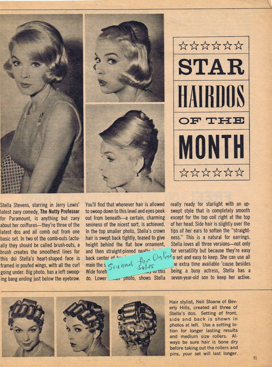 STELLA STEVENS 1963 Hairdos of the Month Feature Styled by Neil Sloane