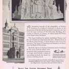1924 Indiana Limestone Original Vintage Ad with Carved Group Figure a University of Illinois