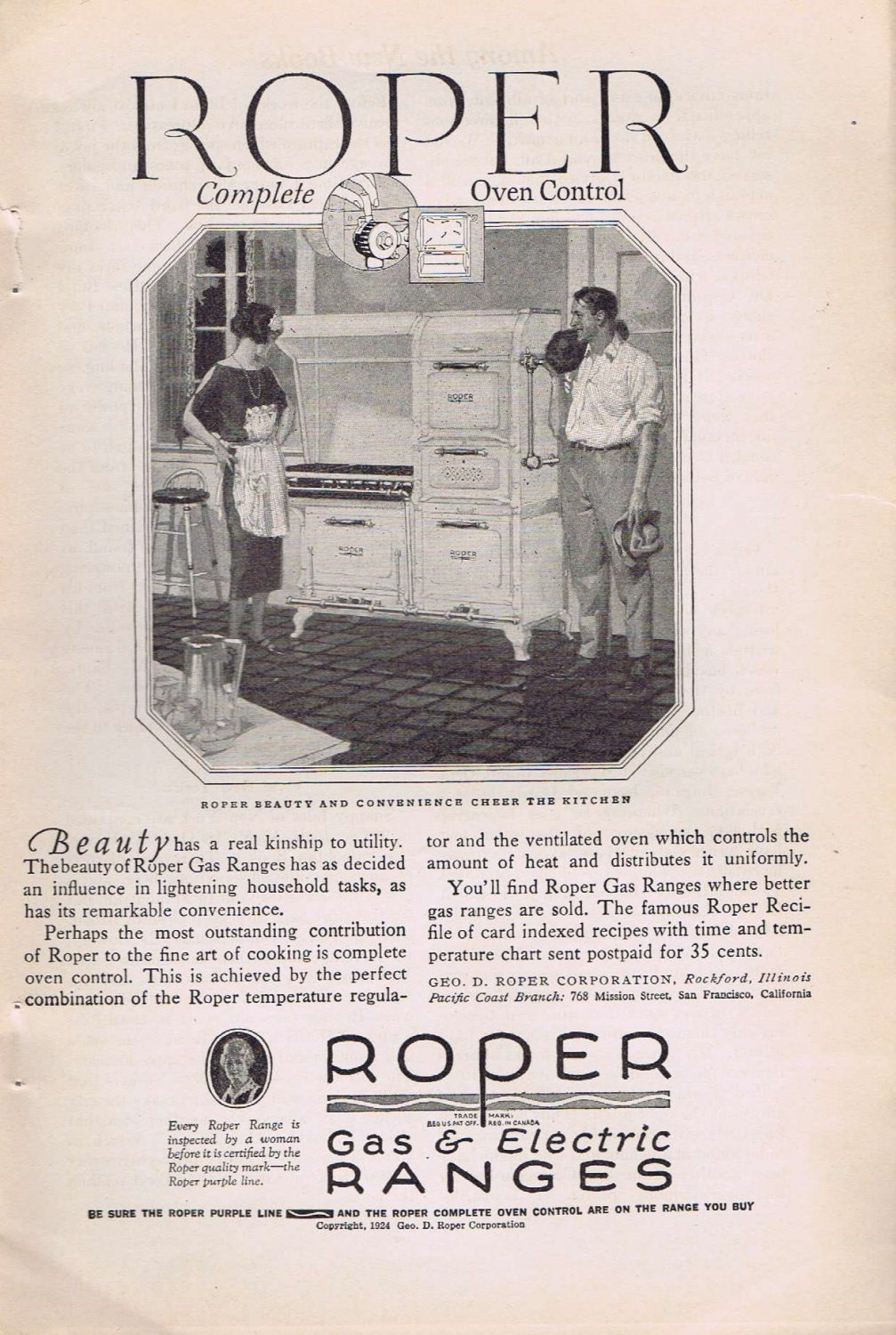 Roper Gas and Electric Ranges 1924 Original Vintage Ad with Complete Oven Control