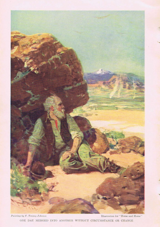F. Tinney Johnson 1924 Vintage Western Magazine Art Drawing