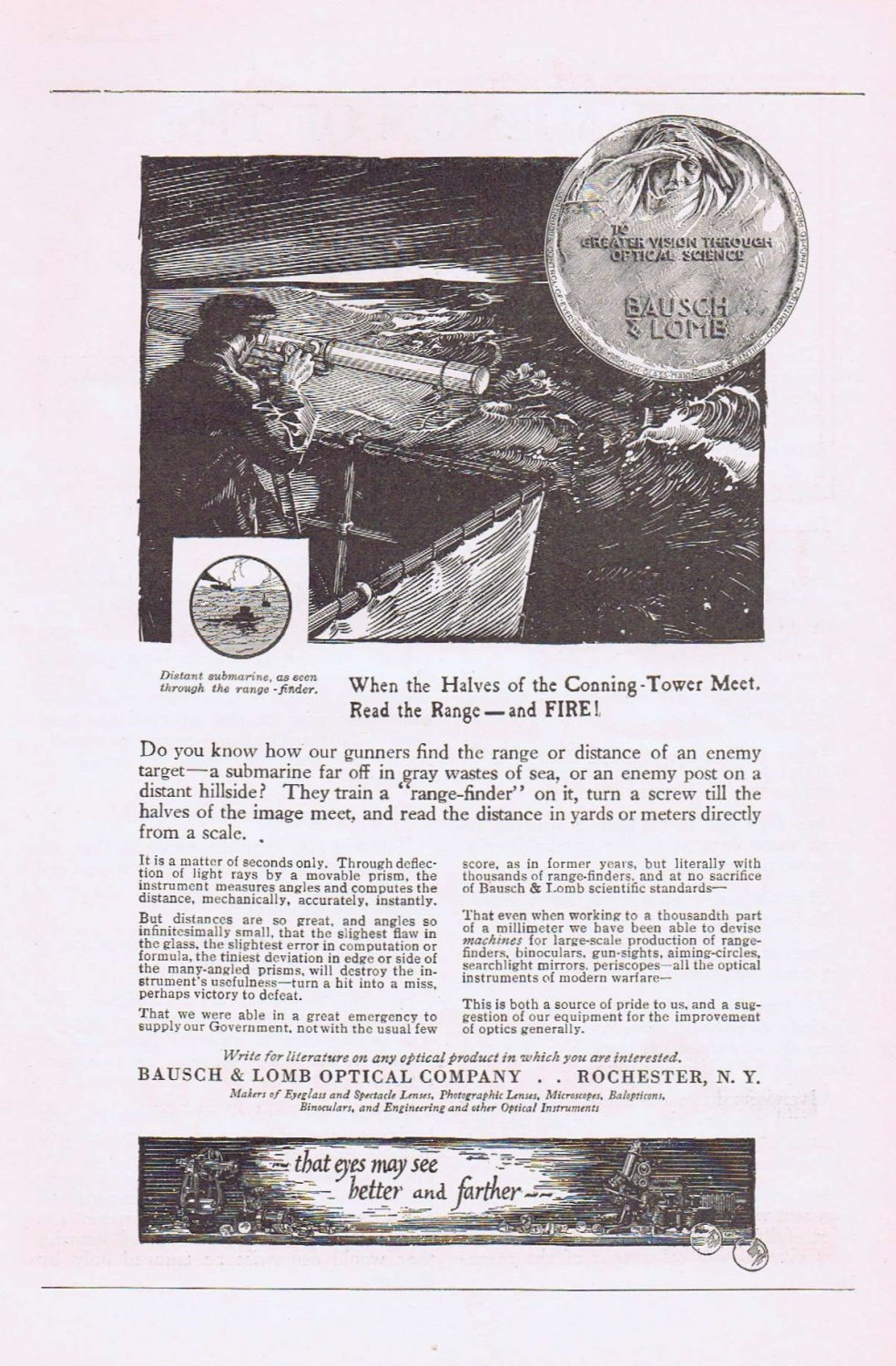 1920 Bausch and Lomb Optical Original Vintage Advertisement with Submarine Finder