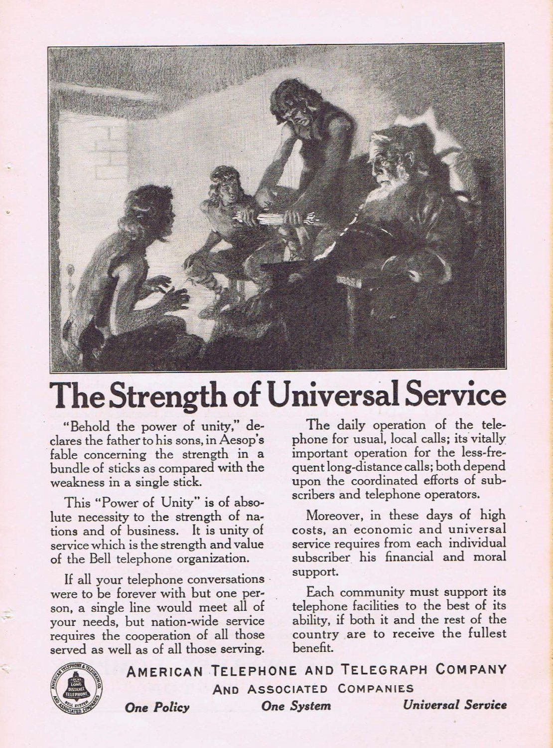 1920 AT&T Original Vintage Advertisement with the Power of Unity