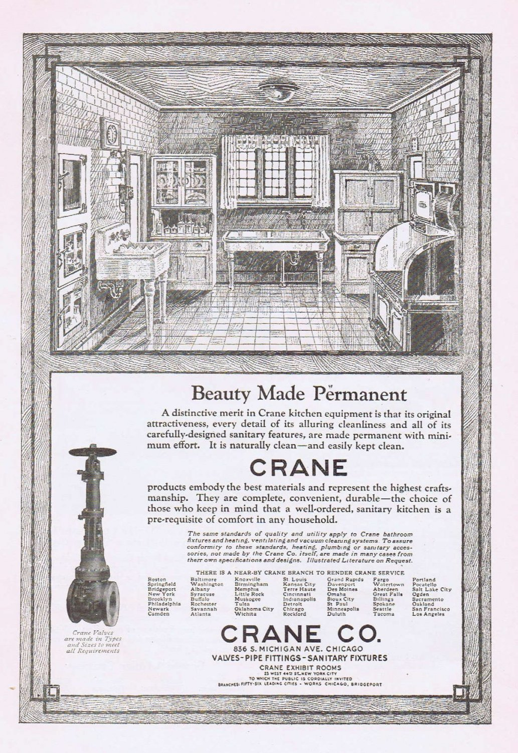 1920 Crane Kitchen Original Vintage Advertisement with Beauty Made Permanent