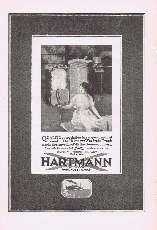1920 Hartman Traveler Wardrobe Trunks Original Vintage Advertisement