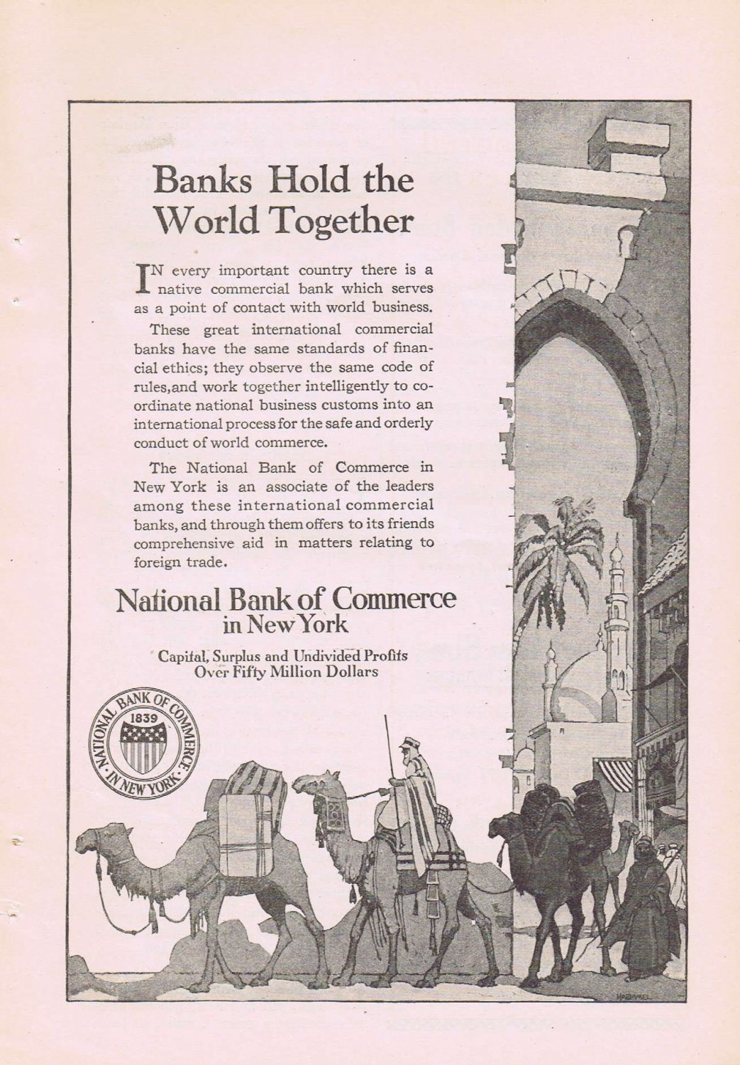 1920 National Bank of Commerce of New York Original Vintage Advertisement