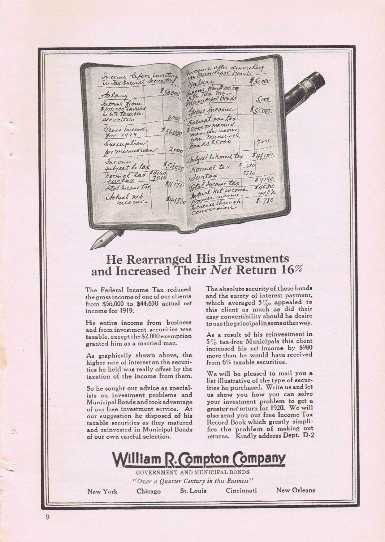 1920 William R. Compton Investment Company Original Vintage Advertisement
