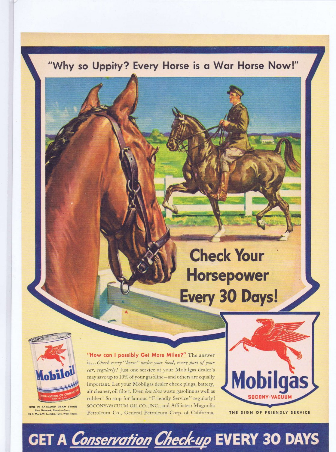 1943 Mobil Gasoline WWII Original Vintage Ad with War Horse Drawing