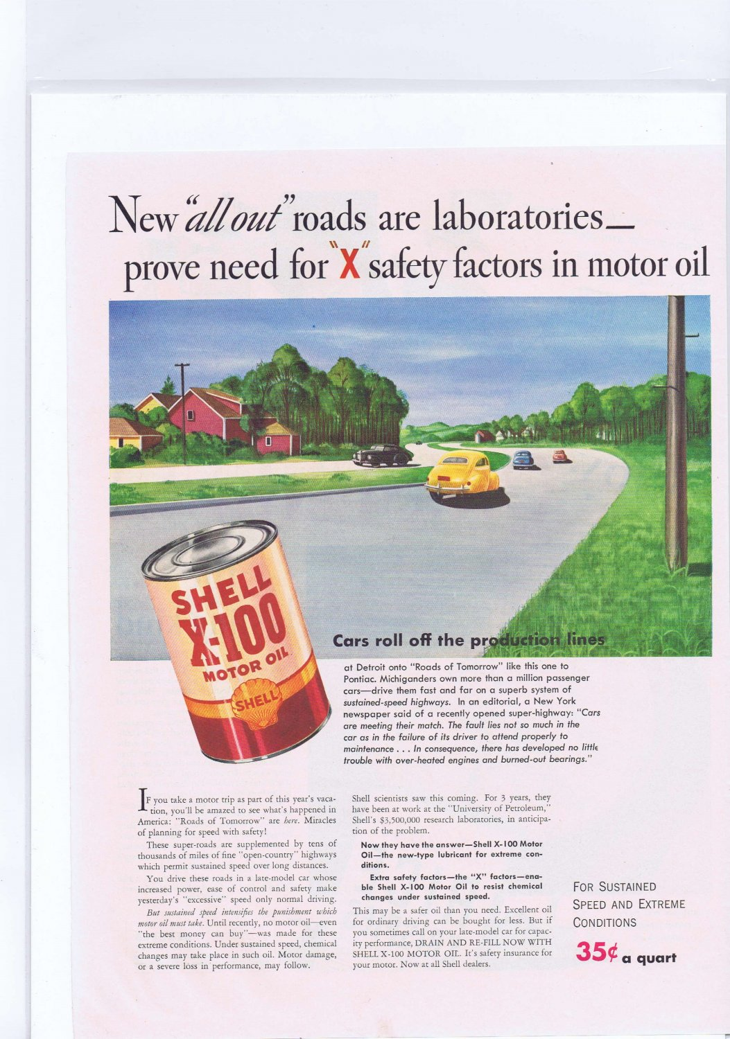 1941 Shell X-100 Motor Oil Original Vintage Advertisement Roads of Tomorrow
