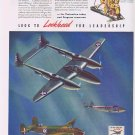1941 Lockheed Military Planes Vintage Ad P-38 Lighting, Hudson Bomber Lodestar Transport