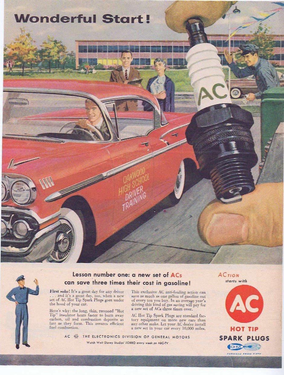1957 AC Spark Plugs Original Vintage Advertisement with High School Driver Training Car