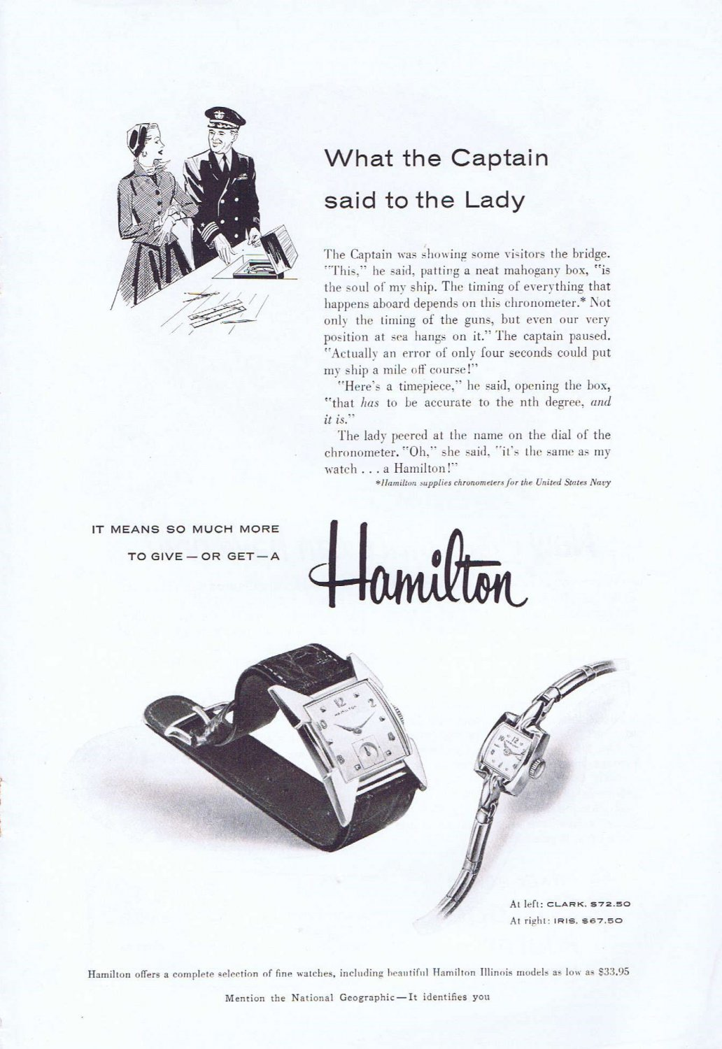 1955 Hamilton Watch Original Vintage Ad with the Captain and the Lady
