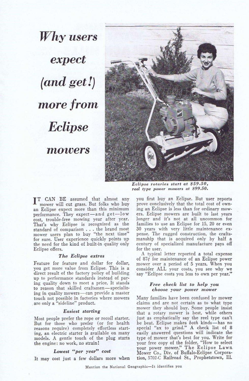 1957 Eclipse Reel Power Lawn Mower Original Vintage Ad Unique-Looking