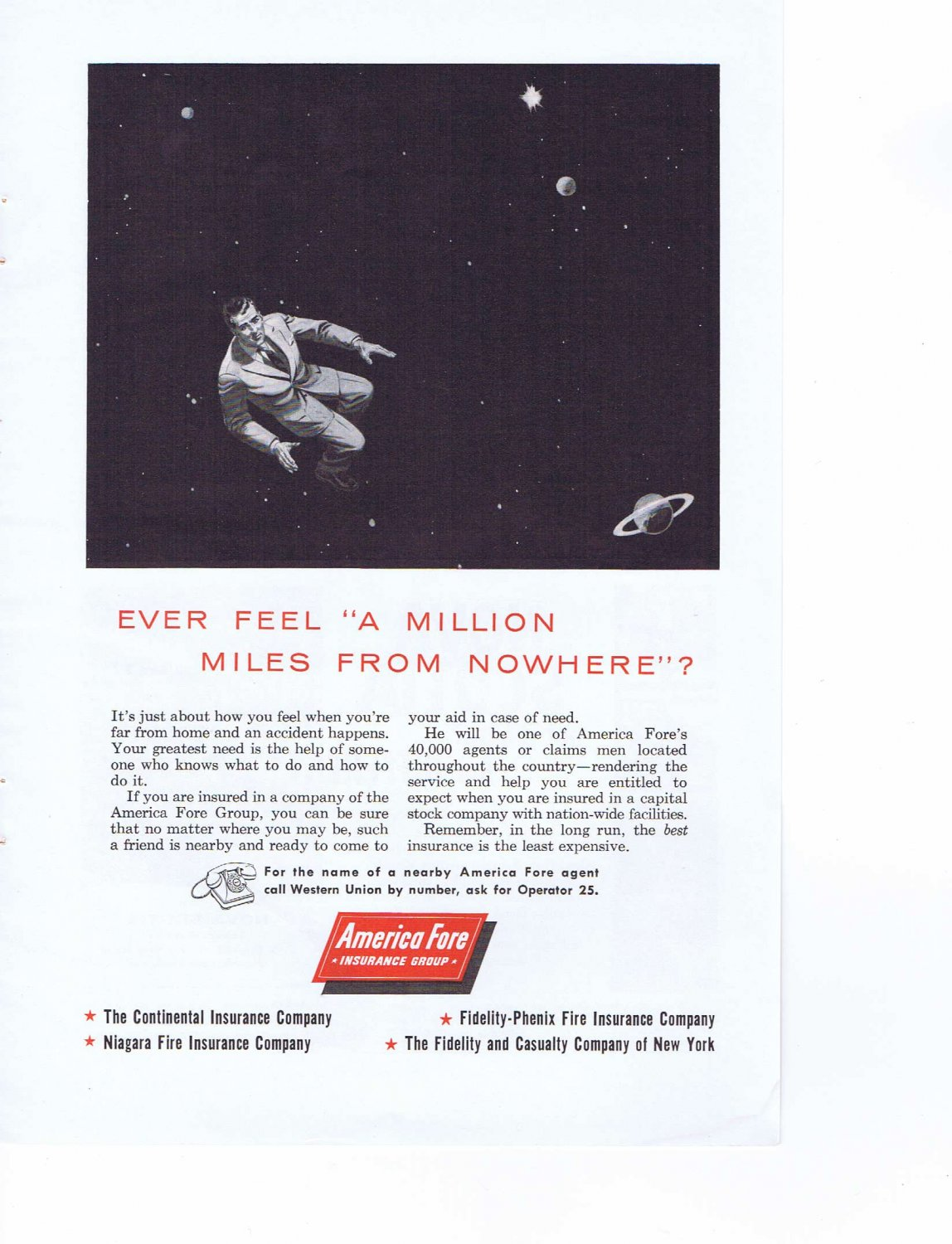 1957 A Million Miles From Nowhere American Fore Insurance Original Vintage Ad
