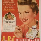 "Anne Baxter 1949 Chesterfield Cigarettes Vintage Ad starring in ""You're My Everything"" film"