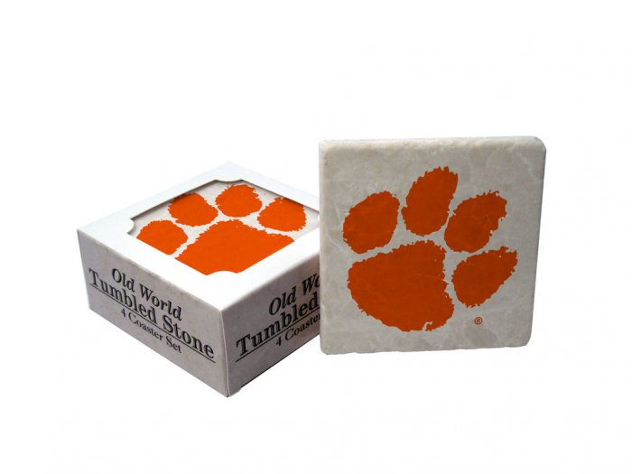 CLEMSON TIGERS OLD WORLD TUMBLED STONE COASTER SET LIMITED EDITION FREE SHIPPING