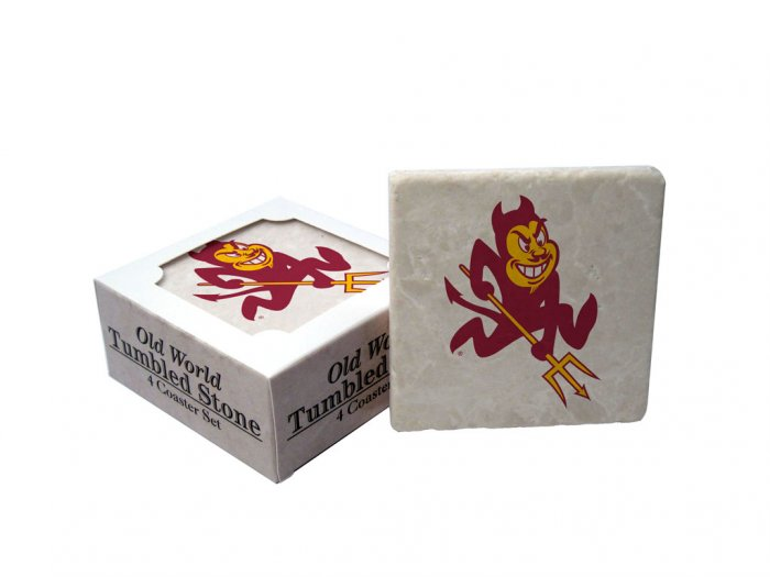 ARIZONA  STATE SUN DEVILS OLD WORLD TUMBLED STONE COASTER SET LIMITED EDITION FREE SHIPPING