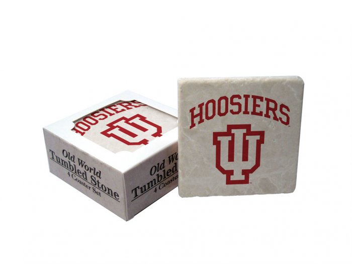 INDIANA HOOSIERS OLD WORLD TUMBLED STONE COASTER SET LIMITED EDITION FREE SHIPPING