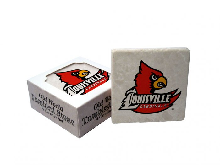 LOUISVILLE CARDINALS OLD WORLD TUMBLED STONE COASTER SET LIMITED EDITION FREE SHIPPING