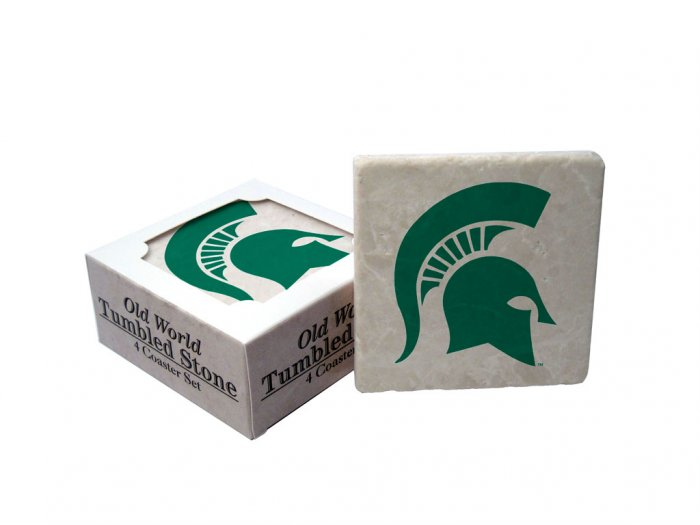 MICHIGAN STATE SPARTANS OLD WORLD TUMBLED STONE COASTER SET LIMITED EDITION FREE SHIPPING