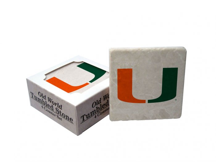 MIAMI HURRICANES OLD WORLD TUMBLED STONE COASTER SET LIMITED EDITION FREE SHIPPING