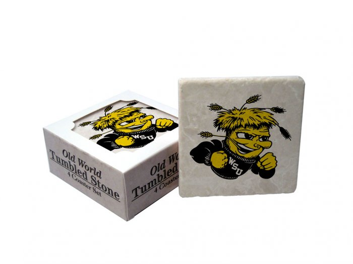 WICHITA STATE SHOCKERS OLD WORLD TUMBLED STONE COASTER SET LIMITED EDITION FREE SHIPPING