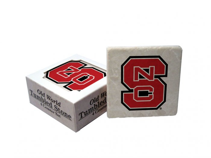 NORTH CAROLINA STATE WOLFPACK OLD WORLD TUMBLED STONE COASTER SET LIMITED EDITION