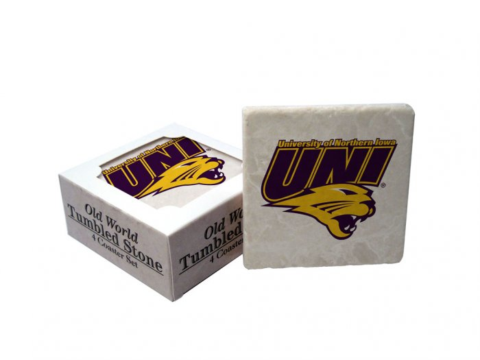 NORTHERN IOWA PANTHERS OLD WORLD TUMBLED STONE COASTER SET LIMITED EDITION FREE SHIPPING