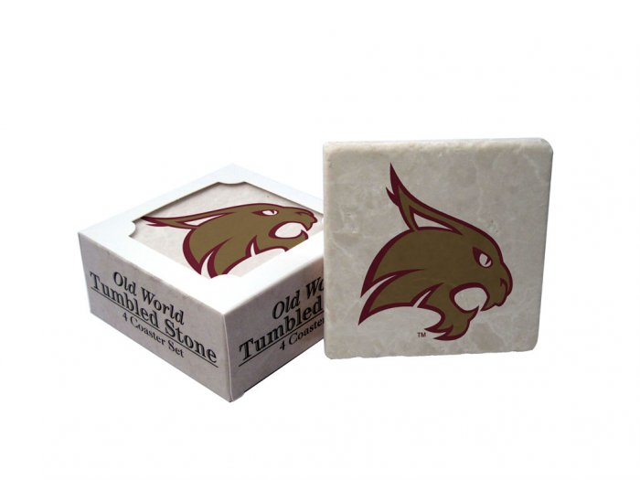 TEXAS STATE BOBCATS OLD WORLD TUMBLED STONE COASTER SET LIMITED EDITION FREE SHIPPING