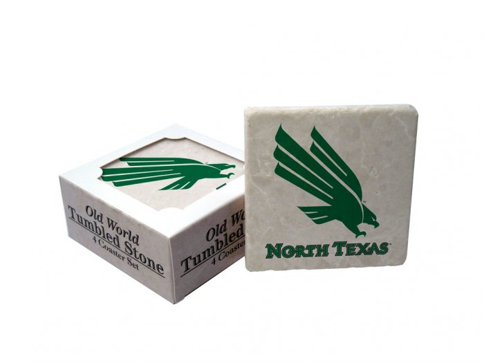 NORTH TEXAS EAGLES OLD WORLD TUMBLED STONE COASTER SET LIMITED EDITION FREE SHIPPING