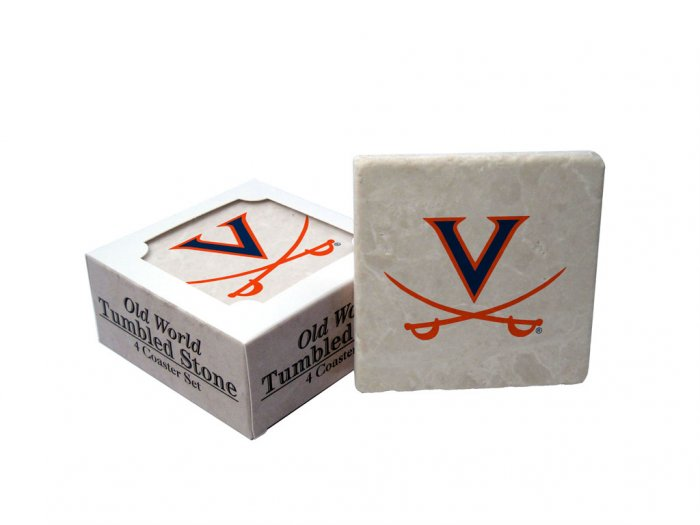 VIRGINIA CAVALIERS OLD WORLD TUMBLED STONE COASTER SET LIMITED EDITION FREE SHIPPING