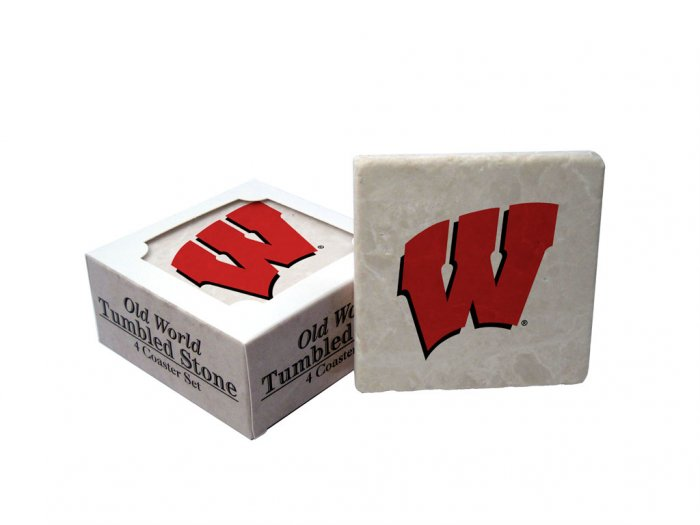 WISCONSIN BADGERS OLD WORLD TUMBLED STONE COASTER SET LIMITED EDITION FREE SHIPPING