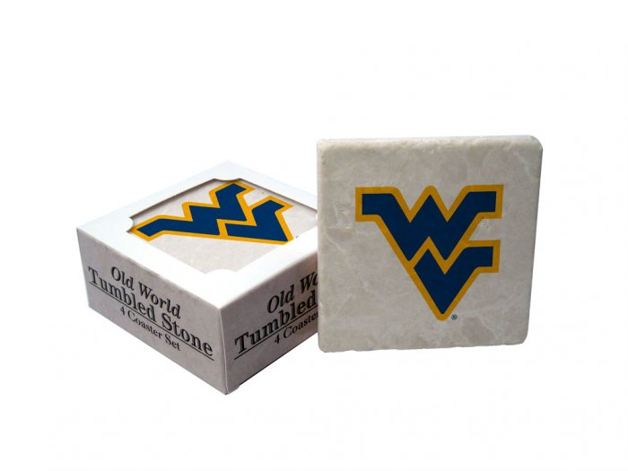 WEST VIRGINIA MOUNTAINEERS OLD WORLD TUMBLED STONE COASTER SET LIMITED EDITION FREE SHIPPING