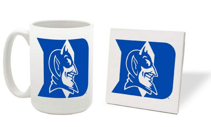 DUKE BLUE DEVILS 15 OUNCE CLASSIC COLLECTION LOGO SERIES MUG WITH MATCHING COASTER FREE SHIPPING