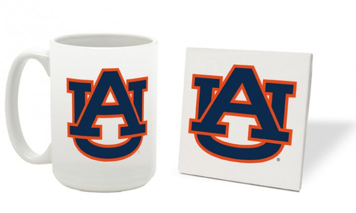 AUBURN TIGERS 15 OUNCE CLASSIC COLLECTION LOGO SERIES MUG WITH MATCHING COASTER FREE SHIPPING