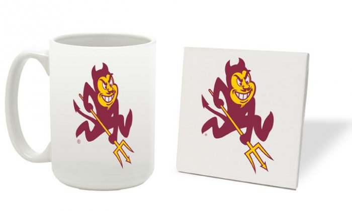 ARIZONA  STATE SUN DEVILS 15 OUNCE CLASSIC COLLECTION LOGO SERIES MUG WITH COASTER FREE SHIPPING