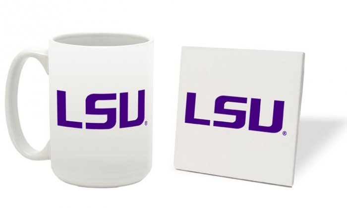 LSU LOUISIANA STATE TIGERS 15 OUNCE CLASSIC COLLECTION LOGO SERIES MUG WITH COASTER FREE SHIPPING