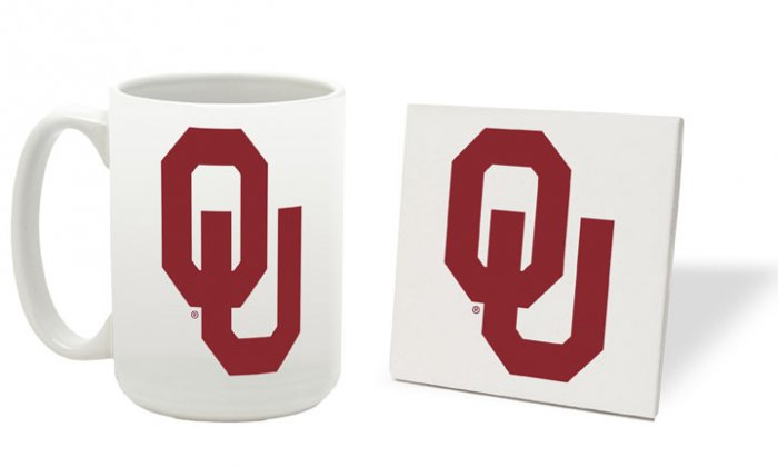 OKLAHOMA SOONERS 15 OUNCE CLASSIC COLLECTION LOGO SERIES MUG WITH MATCHING COASTER FREE SHIPPING