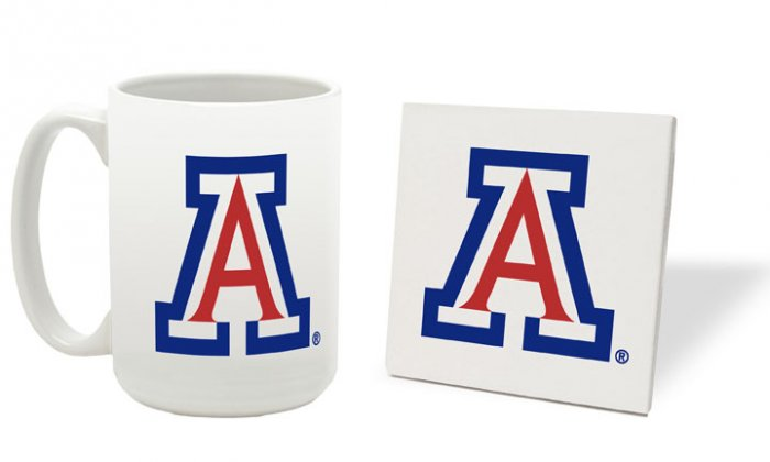ARIZONA WILDCATS 15 OUNCE CLASSIC COLLECTION LOGO SERIES MUG WITH MATCHING COASTER FREE SHIPPING