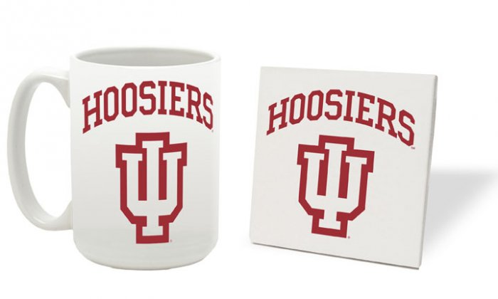 INDIANA HOOSIERS 15 OUNCE CLASSIC COLLECTION LOGO SERIES MUG WITH MATCHING COASTER FREE SHIPPING