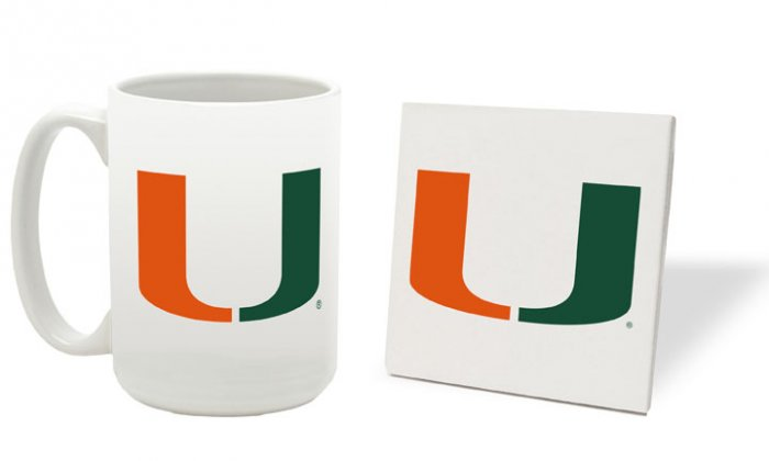 MIAMI HURRICANES 15 OUNCE CLASSIC COLLECTION LOGO SERIES MUG WITH MATCHING COASTER FREE SHIPPING
