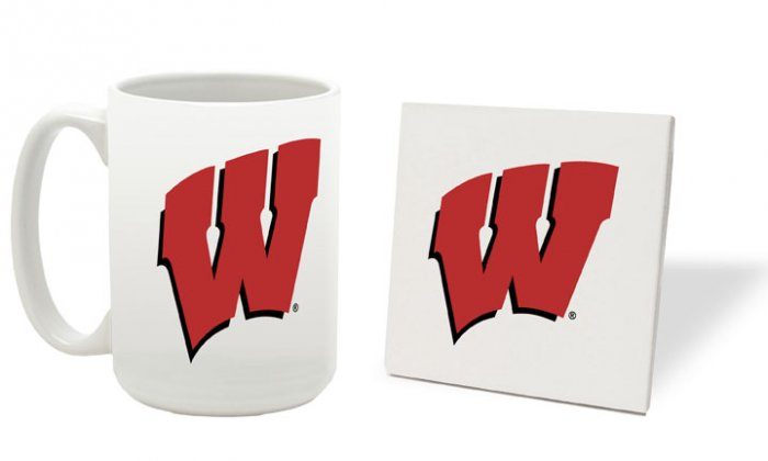 WISCONSIN BADGERS 15 OUNCE CLASSIC COLLECTION LOGO SERIES MUG WITH MATCHING COASTER FREE SHIPPING