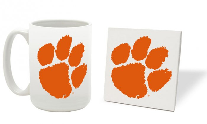 CLEMSON TIGERS 15 OUNCE CLASSIC COLLECTION LOGO SERIES MUG WITH MATCHING COASTER FREE SHIPPING